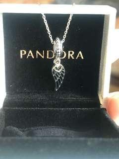 🚚 Pandora 短項鍊 細款45cm+14K愛心羽毛墜飾