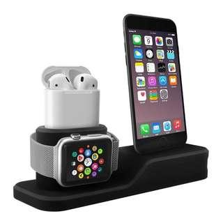 2018 3 in 1 Charging Stand for iPhone AirPods Apple Watch Charger Dock Station Silicone,Support for Apple Watch Series 3/2/1/AirPods/iPhone X/8/8 Plus/7/7 Plus/6s Black