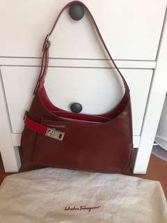 Ferragamo red leather shoulder bag