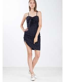 BNWT Ninth Collective Pretty Tsuki Checkered Dress in Navy Blue