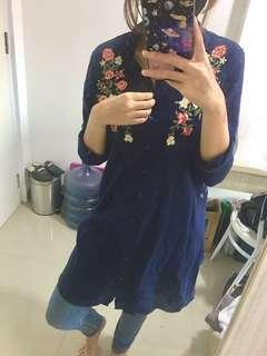 Navy Blouse / Long Shirt
