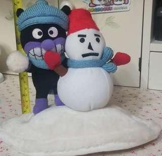 麵包超人 細菌小子 雪地 攬雪人 公仔