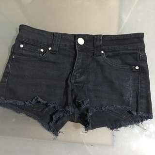 Black Denim Short Shorts f21