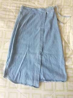 Striped overlap denim midi skirt