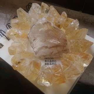 (招財神器)黃水晶原石手串+金髮晶原石吊咀