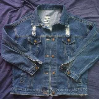 Oversized Ragged Denim Jacket