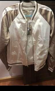 Forever 21 Contrast Stripe Satin Bomber Jacket (tan & white)