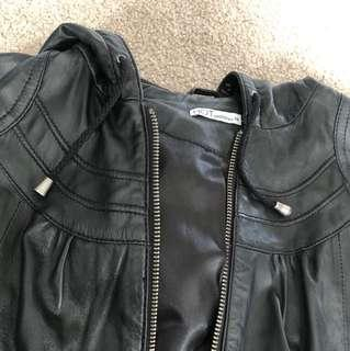 Black fake leather jacket warm winter