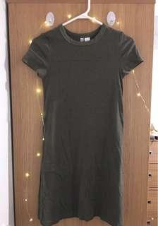 Olive dress with sleeves (H&M)