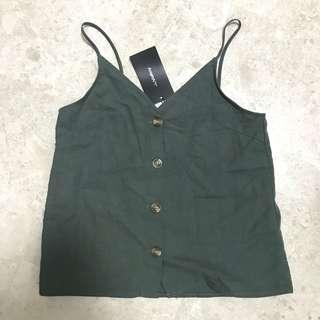 BNWT TEMT Green Button Top