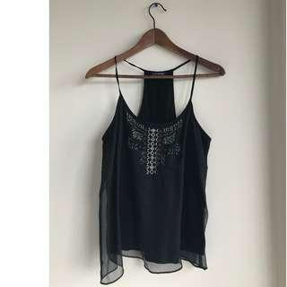 AEO Black Sequined Top - size XS