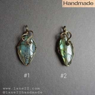 Labradorite wire wrapped pendants // blue flash, green flash