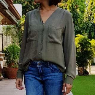 H&M Long Sleeved Sheer Blouse
