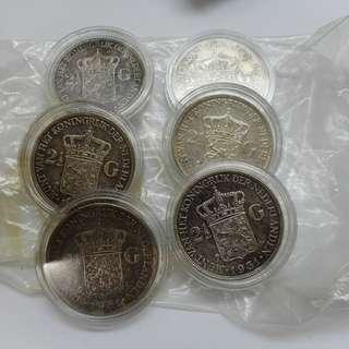 netherlands east indies 2 1/2 gulden silver coins 1930 1931 1933, $28 each
