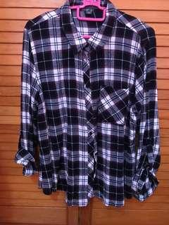 Flannel checkered shirt plus size