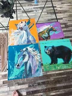 Original art abstract horse bear on thick board one off