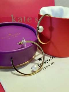 *Perfect Gift* Kate Spade Her Day To Shine Gold Tone with Crystals and Pearl Hoop Earrings