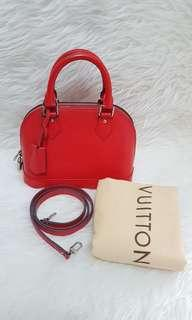 Authentic lv bb alma red epi leather shw