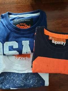 Superdry T Shirt x 3 Size Small