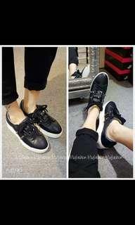 韓國厚底銀釘皮鞋(36號碼)