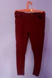 celana jegging red merah