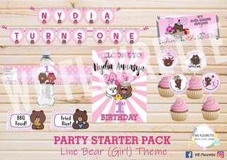 Customised Line Bear Party Starter Pack/ Birthday Deco Set