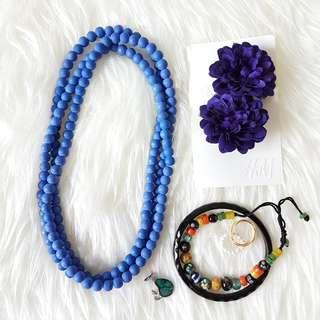 BUNDLE Boho Jewellery & Accessories 7 Pieces Bead Necklace Hair Clip Fascinator Bangle Bracelet Ring Pin Brooch