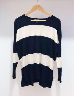 Black and beige striped sweater