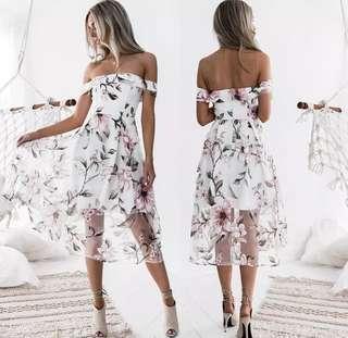 S-XL Floral Off Shoulder Dress