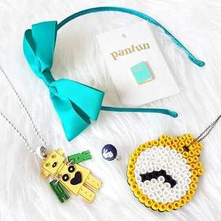 BUNDLE Quirky Jewellery & Accessories 5 + 2 FREE Pieces Necklace Headband Pin Brooch Ring Bead Bracelet
