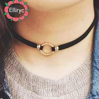 Small Gold/Silver Plated Circle Pendant Choker Necklace