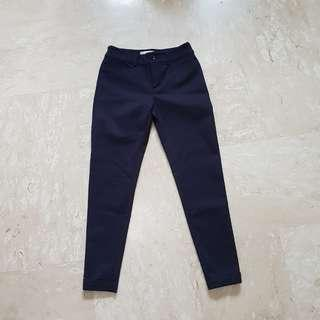 Navy Work Cuffed Crop Pants / Bottoms