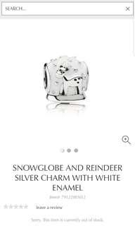 Pandora Snowglobe and reindeer silver charm with white enamel