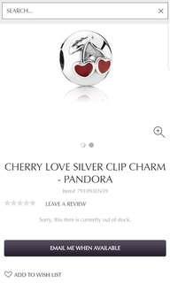 Cherry Love Silver Clip Charm - PANDORA