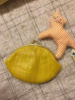 🚚 曼波魚皮包 芥末黃 大零錢包