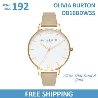 Olivia Burton Ladies Watch White Dial Sand & Gold OB16BDW35