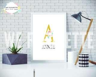 Personalised Floral Name Art Frame **Christmas Promo 10% off