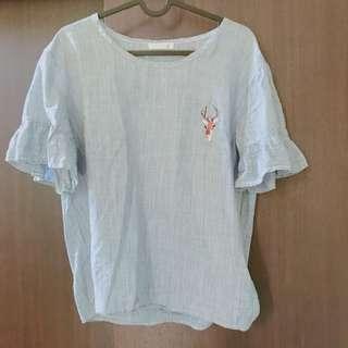 🚚 日系棉麻刺繡上衣