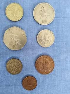 1 new pence to 1 pound coins