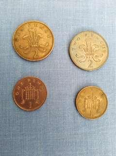 2 new pence and 1 new pence coins