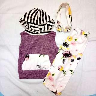 Baby Girl Clothes Flower T-shirt Top + Pant + Headband