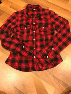 H&M red checkered top