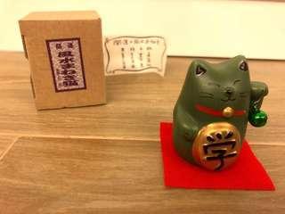 (全新)日本製 招財貓 求學習 LUCKy Cat (陶製)