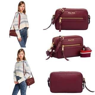 Miu Miu Leather Shoulder Bag (Amaranth Red)