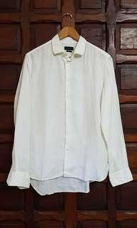 Zara Man White Long Sleeved Linen Shirt