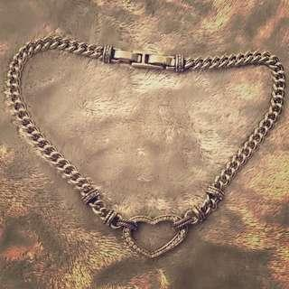 Silver Embelished Heart on chain necklace