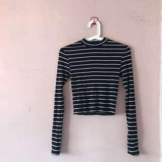 H&M striped high neck crop top