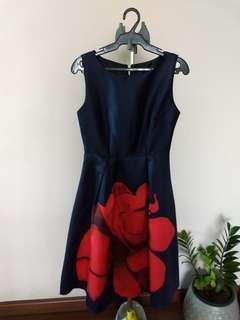Navy Blue Satin Dress