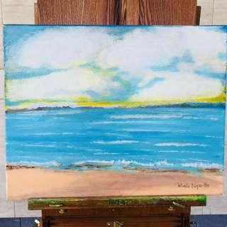 Original Seascape Abstract Acrylic Painting by Artist Melo Ngai