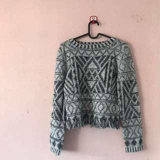 Frayed Knitted Pullover